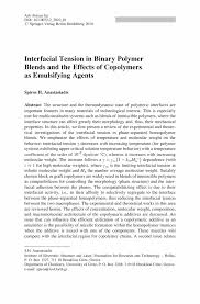 interfacial tension in binary polymer blends and the effects of