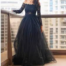 Black Homecoming Dresses With Sleeves 2017 Long Sleeve Prom Dresses With V Neckline Navy Blue Satin Prom