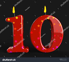number ten candles meaning numeral candles stock illustration