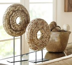 wooden home decor wooden medallion on a stand pottery barn