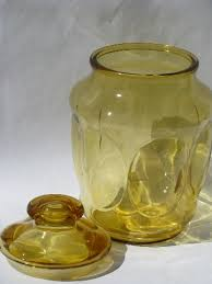 70s vintage amber gold glass canister jars kitchen canisters set