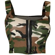 army pattern crop top reina camo print bralet top 14 liked on polyvore featuring