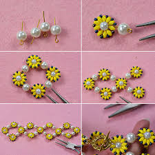 flower beads bracelet images Instruction on how to make pearl flower bracelet with yellow 2 jpg