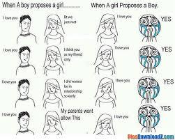 Boy Girl Memes - when a boy propose a girl boys vs girls funny images photos