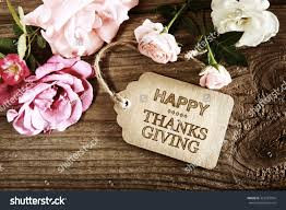 small thanksgiving happy thanksgiving message card small roses stock photo 323783954