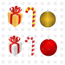 set of christmas elements gift box candy cane and christmas ball