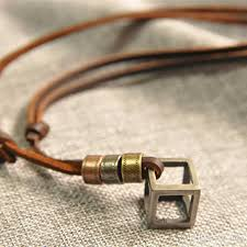leather necklace design images Wholesale vintage retro design handmade leather belt hollow cube jpg