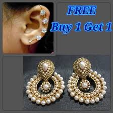 kaan earrings buy 1 get 1 free white pearl polki earrings with kaan at rs 557