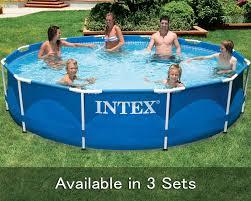 intex 12 x 30 metal frame swimming pool set 530 gph filter pump