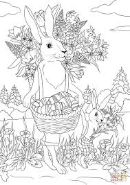 rabbit father with his rabbit son are carrying festive baskets