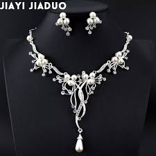 rhinestone necklace earrings images 2017 imitation pearls bridal jewelry sets for women silver color jpg