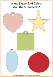 ornaments shape and colour worksheet or template