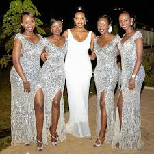 split silver sequins bridesmaid dresses cheap cap sleeve