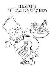 bart and thanksgiving turkey coloring page thanksgiving