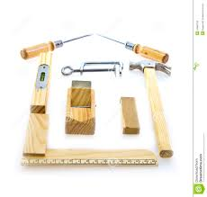 selection of tools in the shape of a house royalty free stock