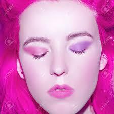 sensual with pink hair sakura japan color stock photo
