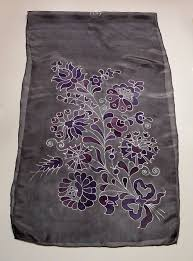 hand painted silk scarf hungarian folk art matyo flowers