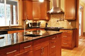 Dark Kitchen Cabinets With Light Countertops Granite Countertop Cabinet Door Style Wall Mounted Sink Faucets