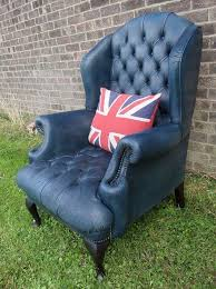 Queen Anne Wingback Chair Leather Queen Anne Style Navy Blue Leather Wing Chair By Fairfield Ebth