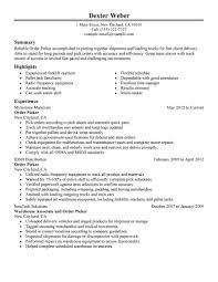 Highlights On A Resume Best Order Picker Resume Example Livecareer