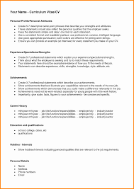 sle cv for job personal profile format in resume fresh sle cv with hobbies and
