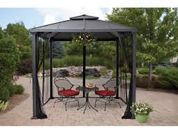 Steel Pergola With Canopy by Hard Top Gazebo Metal Frame Canopy Mosquito Netting 8 X 8 Outdoor