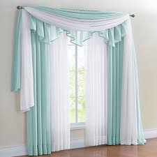 Sheer Scarf Valance Window Treatments Decor Beige Scarf Valance With Dark Leather Loveseat And Beige