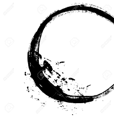 black brush stroke in the form of a circle drawing created in