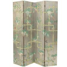 folding screen room divider chinoiserie four panel wallpaper folding screen at 1stdibs