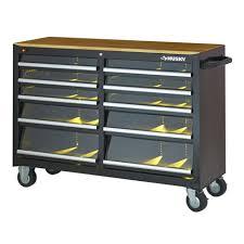 husky 66 in w 24 in d 12 drawer heavy duty mobile workbench bench under bench tool storage heavy duty drawer steel metal