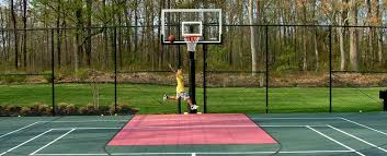 Build A Basketball Court In Backyard Basketball Tennis Multi Use Courts L Deshayes Dream Courts