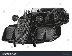 old cars black and white black white flying carcabriolet retro future stock vector