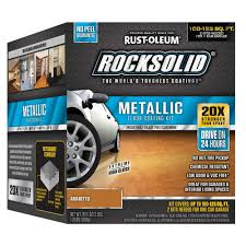 rust oleum rocksolid 70 oz amaretto brown metallic garage floor