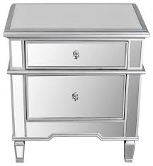 Nightstands With Mirrored Drawers 2 Drawer Mirrored Nightstand Contemporary Nightstands And