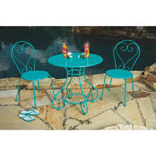 Turquoise Bistro Chair Outdoor Expressions 3 Piece Turquoise Bistro Set Zd B005tc Do
