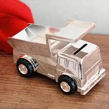 Baptism Piggy Bank Silver Plated Tipper Truck Money Box Piggy Bank Baby Gift