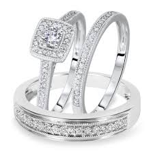 1 2 carat t w cut diamond matching trio wedding ring set