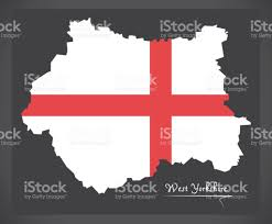 Yorkshire Map West Yorkshire Map England Uk With English National Flag