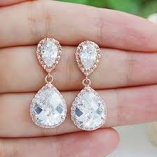 wedding earrings drop gold clear white cubic zirconia tear drop wedding