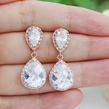 wedding earrings drop gold clear white cubic zirconia tear drop wedding