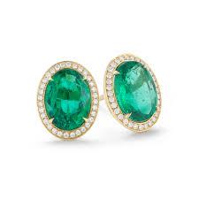 5 93 carat oval cut emerald u0026 diamond stud earrings