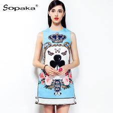 light blue tank dress 2018 summer diamonds beading sleeveless tank dress light blue floral