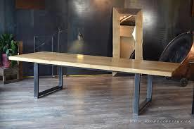 table cuisine sur mesure table chene bois massif acier brut sur mesure jpg pour contemporain