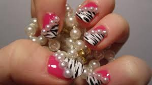 zebra print pink design with 3d half pearls nail art tutorial