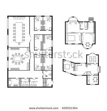 architectural plan modern office architectural plan interior furniture stock vector