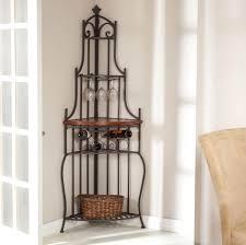 Bakers Shelf Rack Furniture Best Wrought Iron Corner Bakers Rack Design Ideas