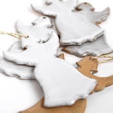 ceramic christmas angel tree decoration by nom living