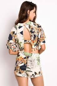 matching set floral print cape crop top shorts matching set oasap