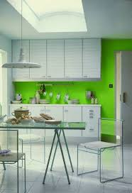 modern green kitchen wall color with white cabinets green