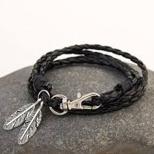 black bracelet with charm images Feather charm multiwrap leather bracelet project yourself jpg